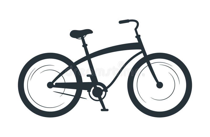 Illustrazione di vettore della siluetta della bicicletta dell'incrociatore illustrazione di stock