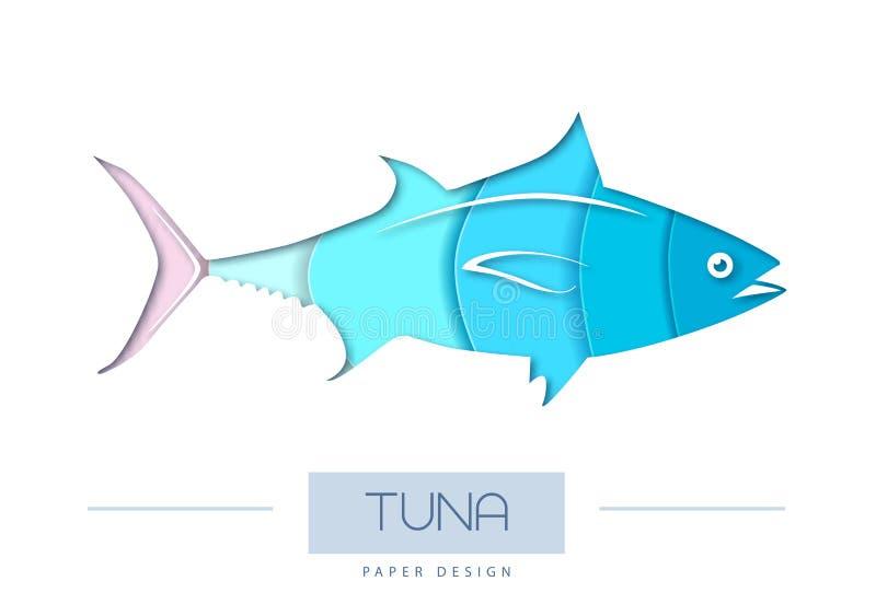 Illustrazione di vettore della siluetta del tonno del pesce Progettazione tagliata di stile di arte della carta royalty illustrazione gratis