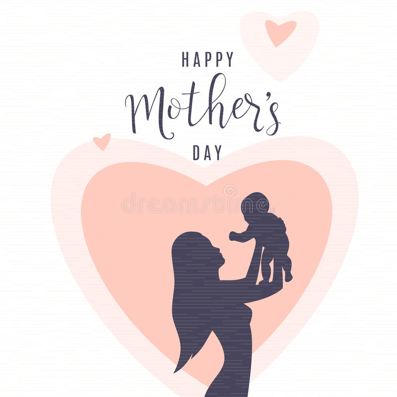 Illustrazione di vettore della siluetta della gente La madre tiene il bambino sulle sue mani illustrazione vettoriale