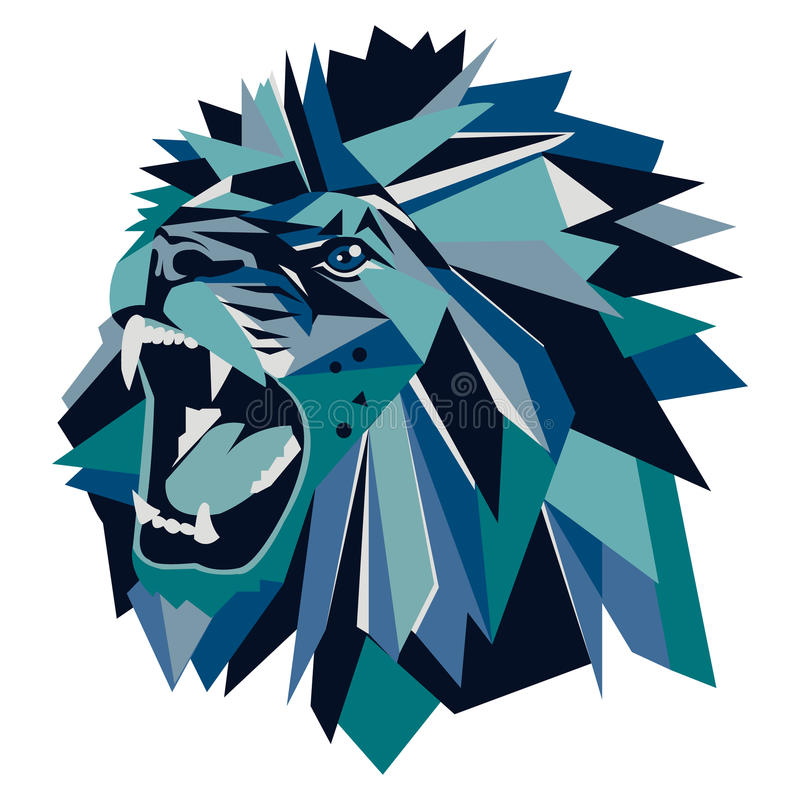Illustrazione di vettore della testa geometrica del leone illustrazione vettoriale
