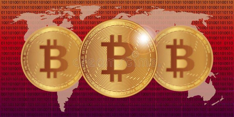 Illustrazione di vettore delle azione di Bitcoin Valuta di Digital Cryptocurrency Monete dorate con il simbolo del bitcoin sulla  fotografia stock