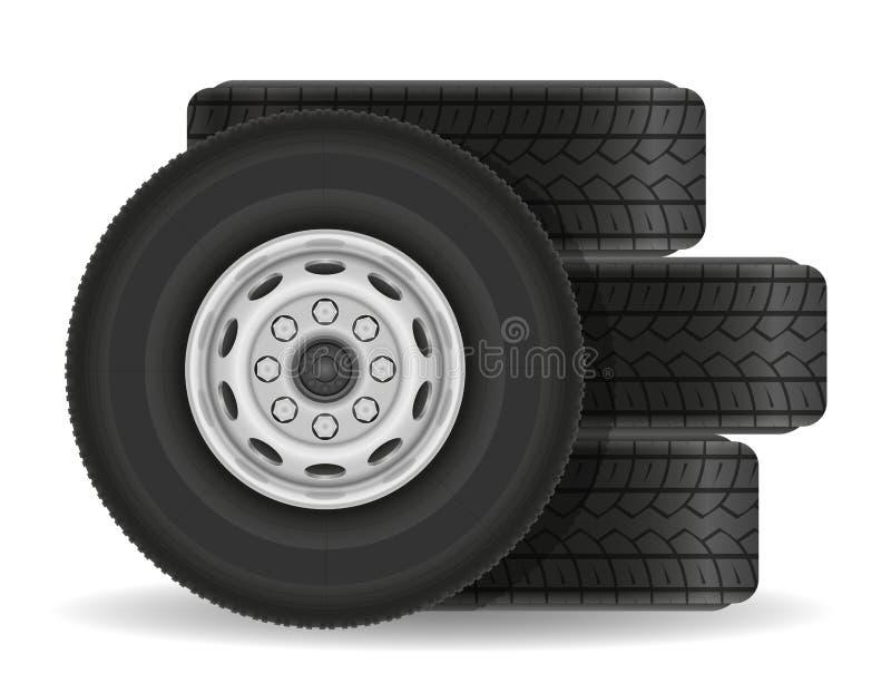 Illustrazione di vettore delle azione della ruota del camion o del bus illustrazione vettoriale