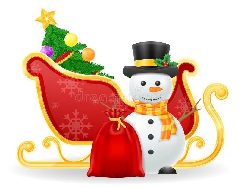Illustrazione di vettore delle azione della slitta del Babbo Natale di Natale immagine stock libera da diritti