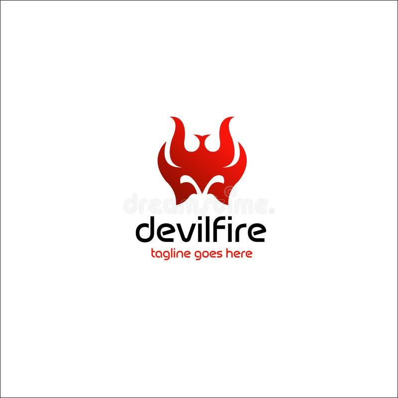 Illustrazione di vettore delle azione di disegno di logo del fuoco del diavolo illustrazione di stock