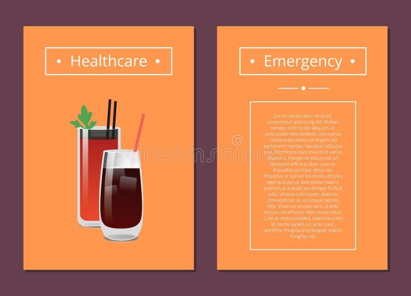 Illustrazione di vettore delle carte di emergenza e di sanità illustrazione di stock