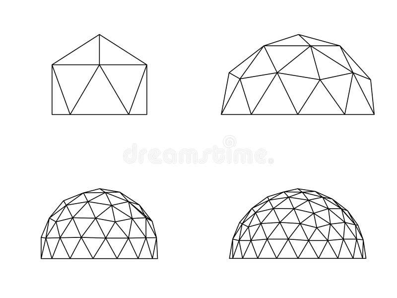 Illustrazione di vettore delle cupole geodetiche illustrazione di stock