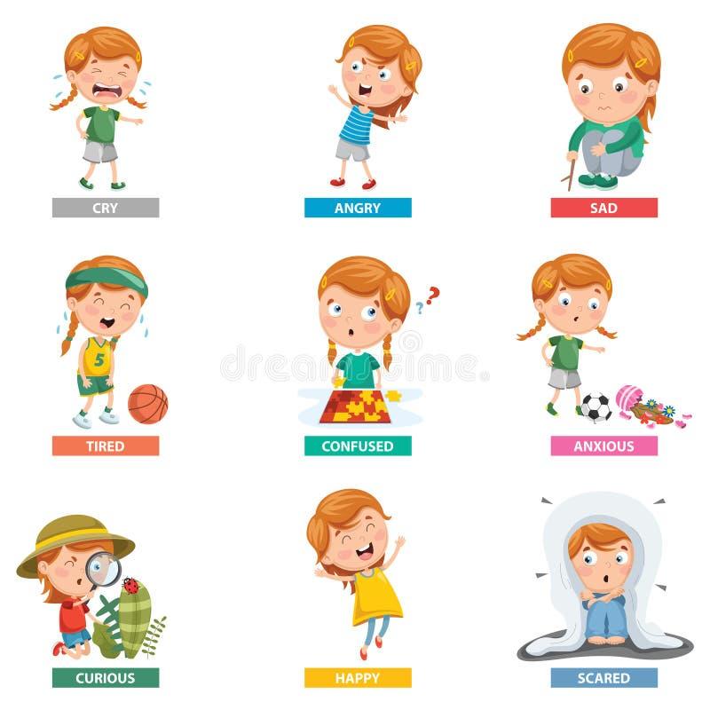 Illustrazione di vettore delle emozioni illustrazione di stock