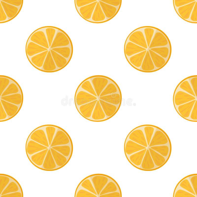 Illustrazione di vettore delle fette di arance su un fondo leggero Modello luminoso e senza cuciture con un'arancia succosa royalty illustrazione gratis