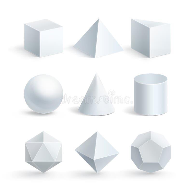 Illustrazione di vettore delle forme geometriche su fondo bianco royalty illustrazione gratis