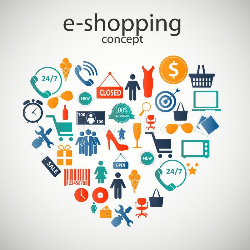 Illustrazione di vettore delle icone di concetto di e-shopping royalty illustrazione gratis