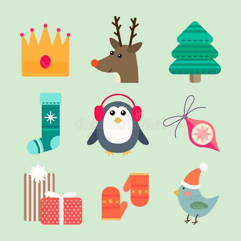 Illustrazione di vettore delle icone di Natale illustrazione vettoriale