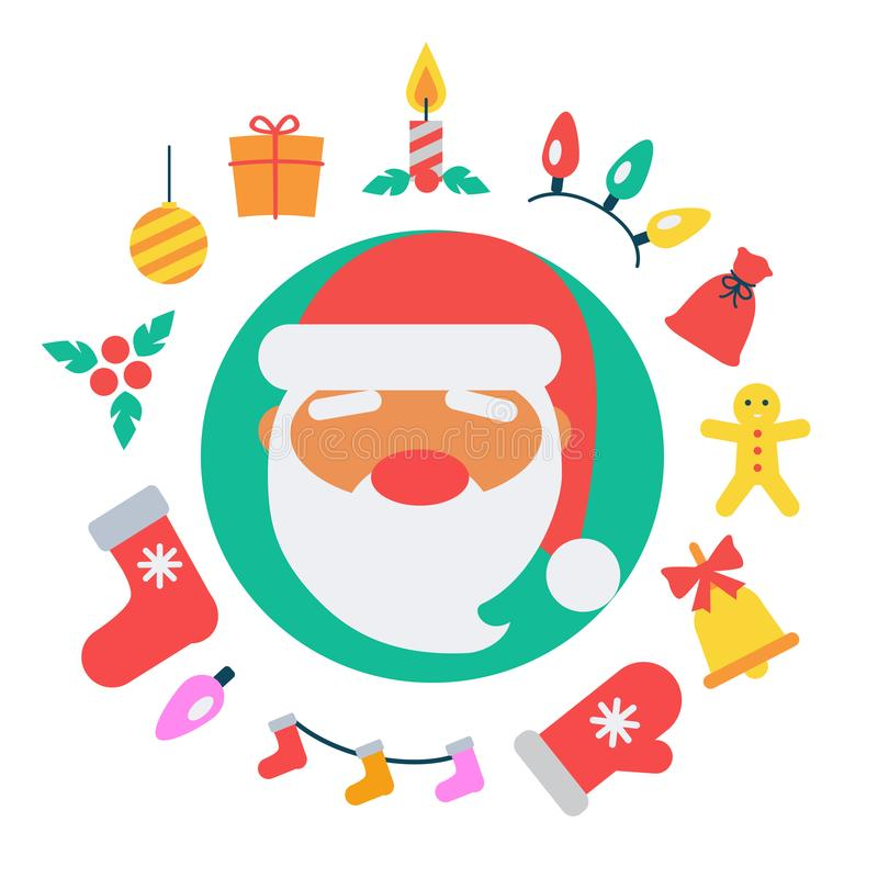 Illustrazione di vettore delle icone e di Santa Claus royalty illustrazione gratis