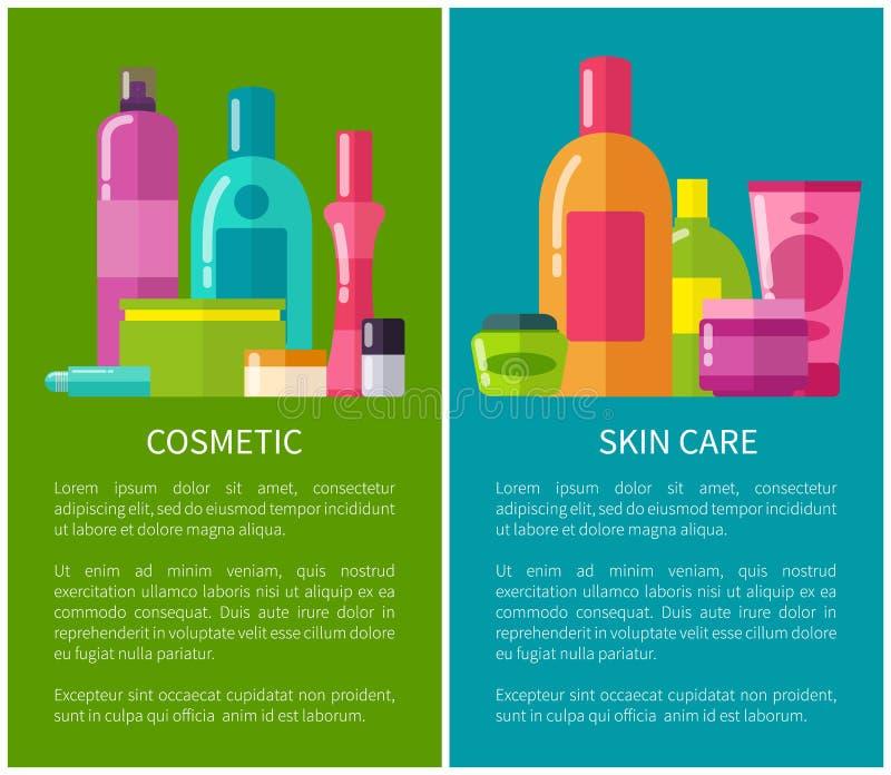 Illustrazione di vettore delle insegne di cura di pelle e del cosmetico illustrazione vettoriale