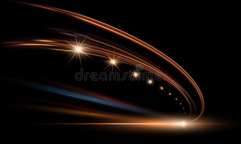 Illustrazione di vettore delle luci dinamiche nello scuro Corsia veloce nell'astrazione di notte Tracce della luce dell'automobil illustrazione vettoriale