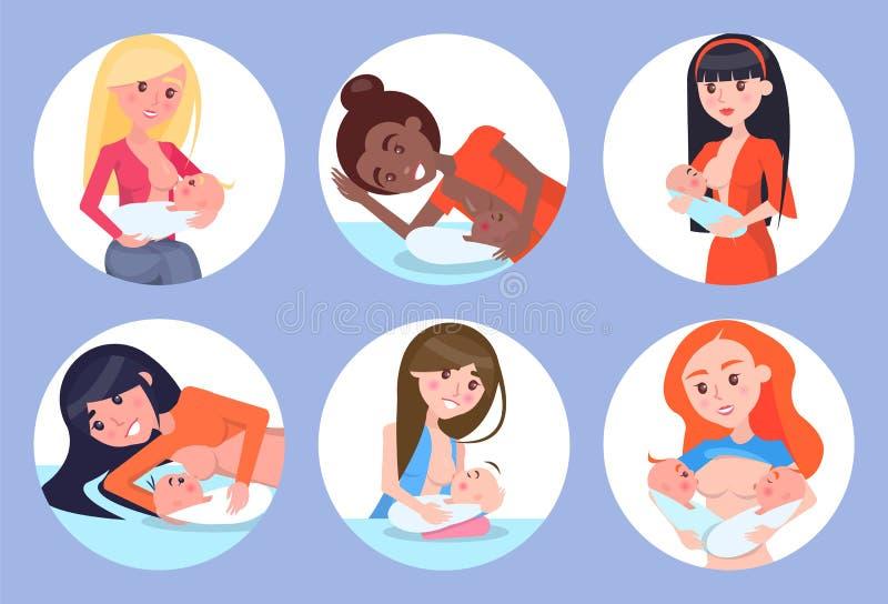 Illustrazione di vettore delle madri e dei bambini di allattamento al seno illustrazione vettoriale