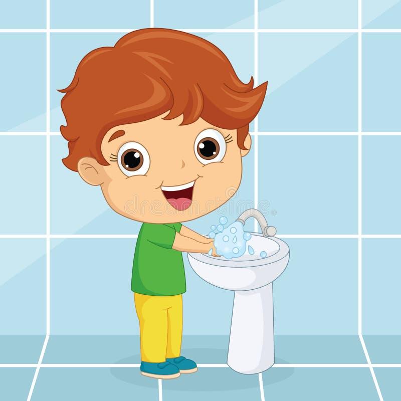 Illustrazione di vettore delle mani di lavaggio del bambino illustrazione di stock