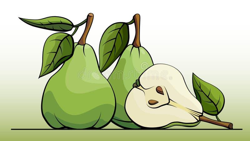 Illustrazione di vettore delle pere verdi della frutta sulla linea illustrazione vettoriale