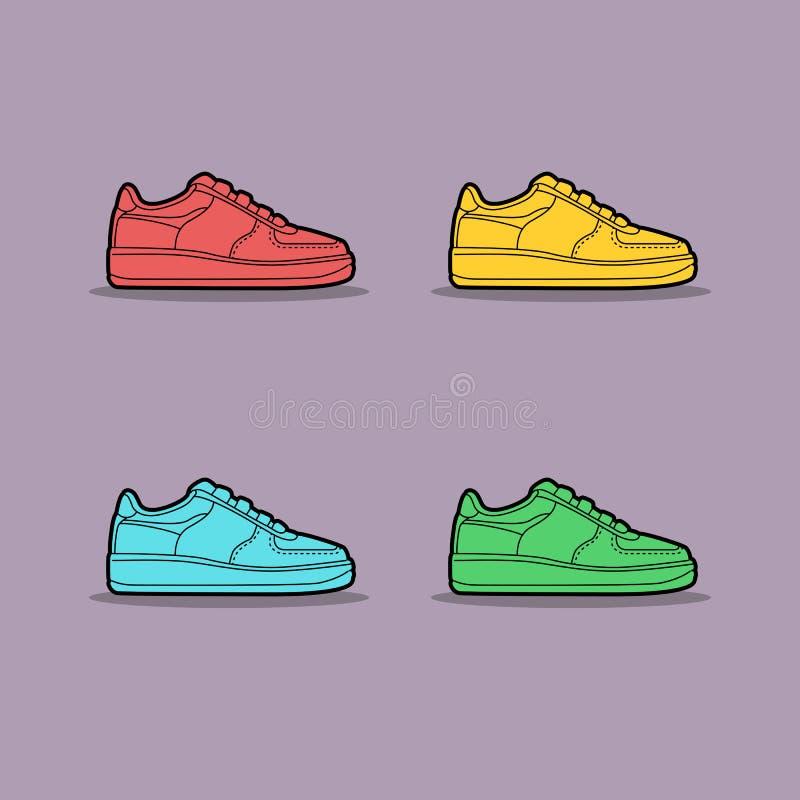 Illustrazione di vettore delle scarpe da tennis colorate multi illustrazione di stock