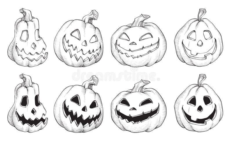 Illustrazione di vettore delle zucche in bianco e nero di Halloween illustrazione vettoriale