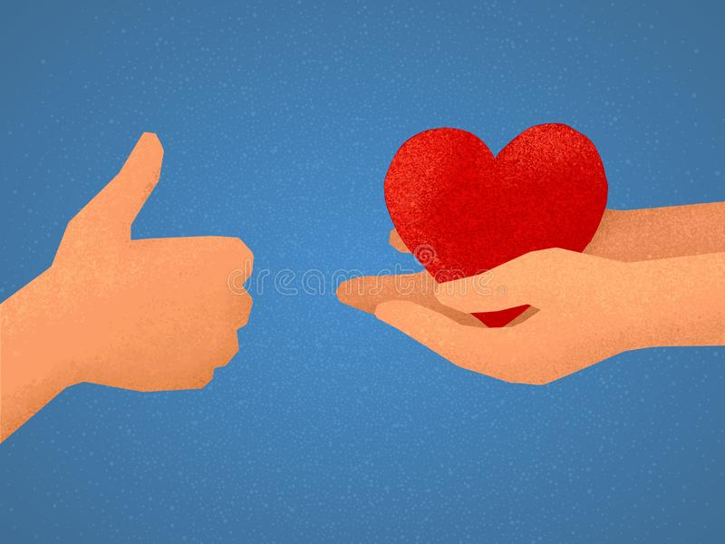 Illustrazione di vettore dello scambio di simili: mano che mostra i pollici su ed i braccia che danno simbolo rosso del cuore royalty illustrazione gratis