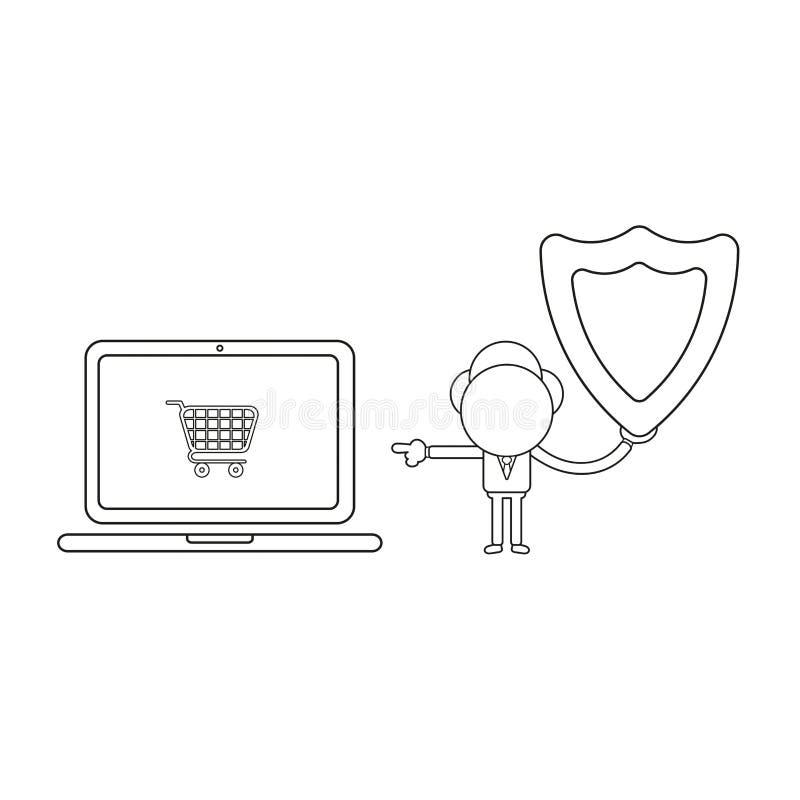 Illustrazione di vettore dello schermo della guardia della tenuta del carattere dell'uomo d'affari e del carrello indicare dentro illustrazione di stock