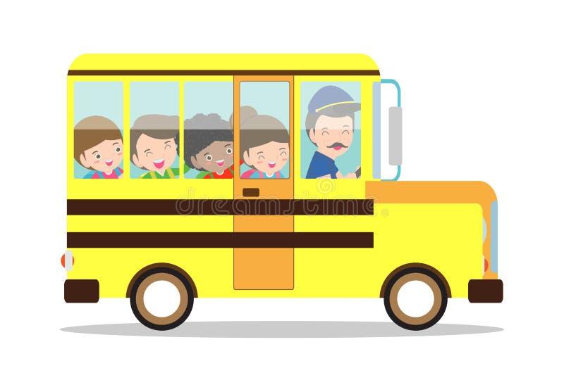 Illustrazione di vettore dello scuolabus Sorridere felice scherza la guida su uno scuolabus con un driver Di nuovo al banco isola illustrazione vettoriale
