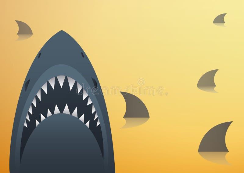 Illustrazione di vettore dello squalo e fondo dello spazio royalty illustrazione gratis