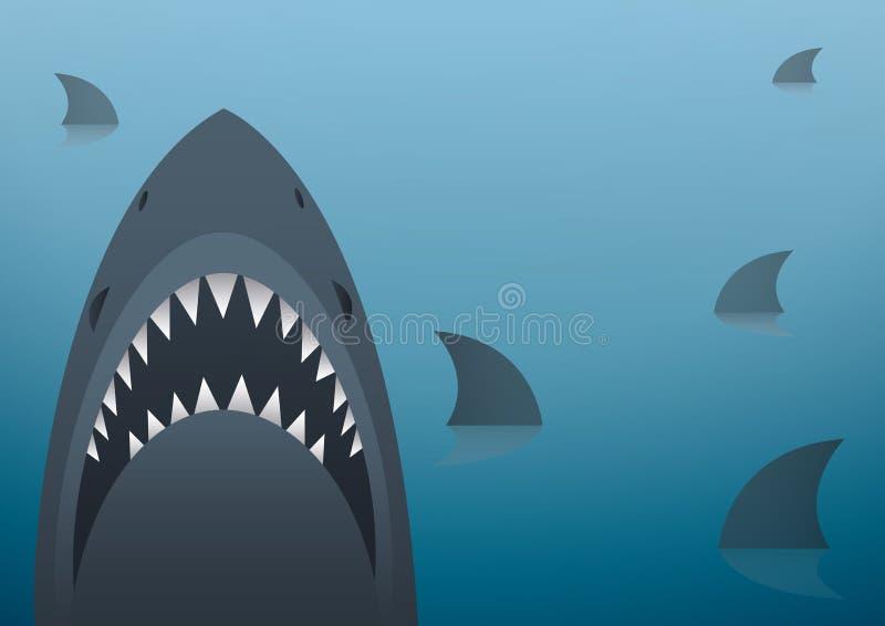 Illustrazione di vettore dello squalo e fondo dello spazio illustrazione di stock