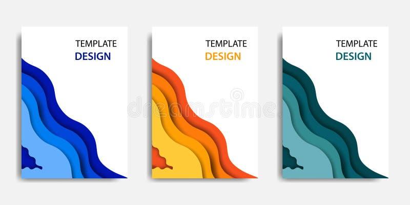 Illustrazione di vettore, derisione del documento sul modello, adeguamento facile di colore Stile topografico del taglio di carta illustrazione di stock
