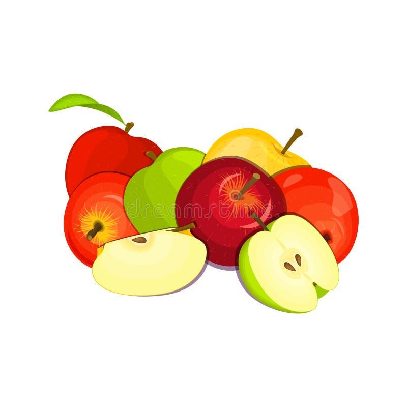 Illustrazione di vettore di alcune mele La mela gialla, rossa e verde fruttifica sguardo appetitoso Gruppo di frutti saporiti royalty illustrazione gratis