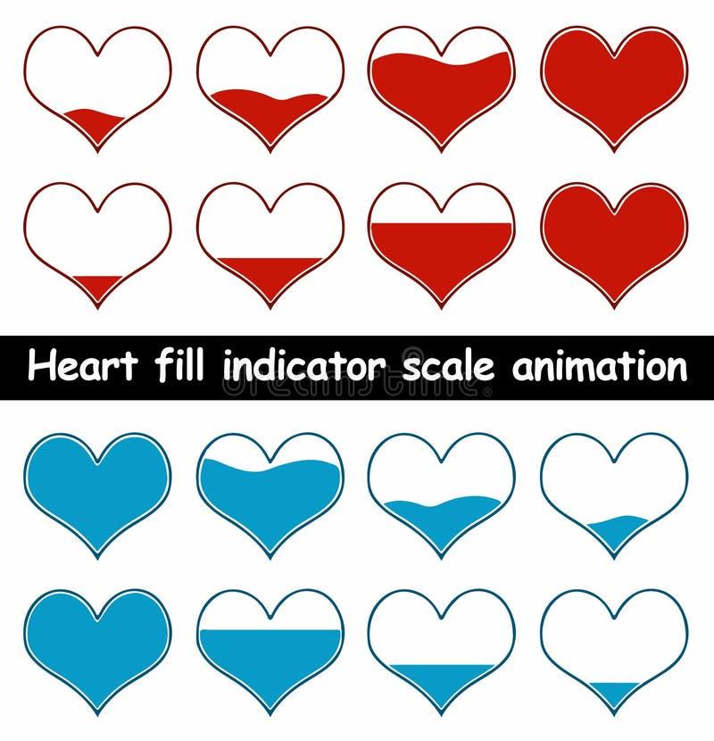 Illustrazione di vettore di animazione del materiale di riempimento del cuore royalty illustrazione gratis