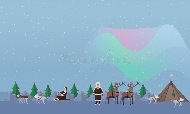 Illustrazione di vettore di concetto dell'aurora boreale nello stile piano royalty illustrazione gratis