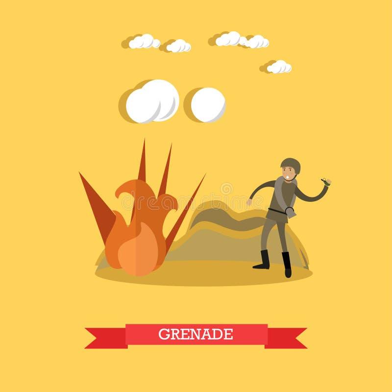 Illustrazione di vettore di concetto della granata nello stile piano illustrazione vettoriale