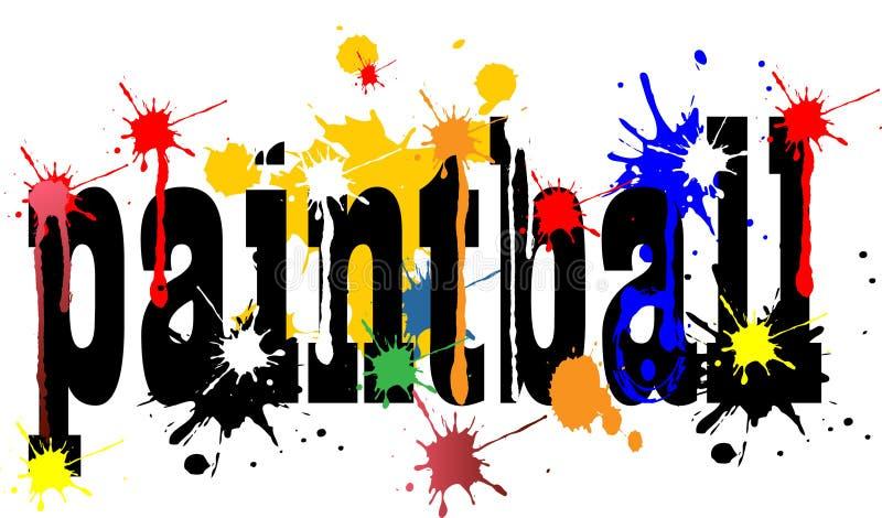 Illustrazione di vettore di concetto di Paintball con i colori immagini stock