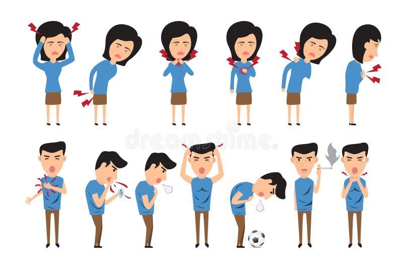 Illustrazione di vettore di concetto di sanità Uomo e donna con symp illustrazione vettoriale