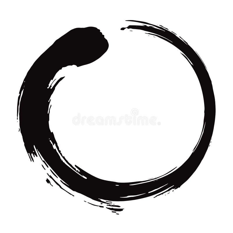 Illustrazione di vettore di Enso Zen Circle Brush Black Ink royalty illustrazione gratis