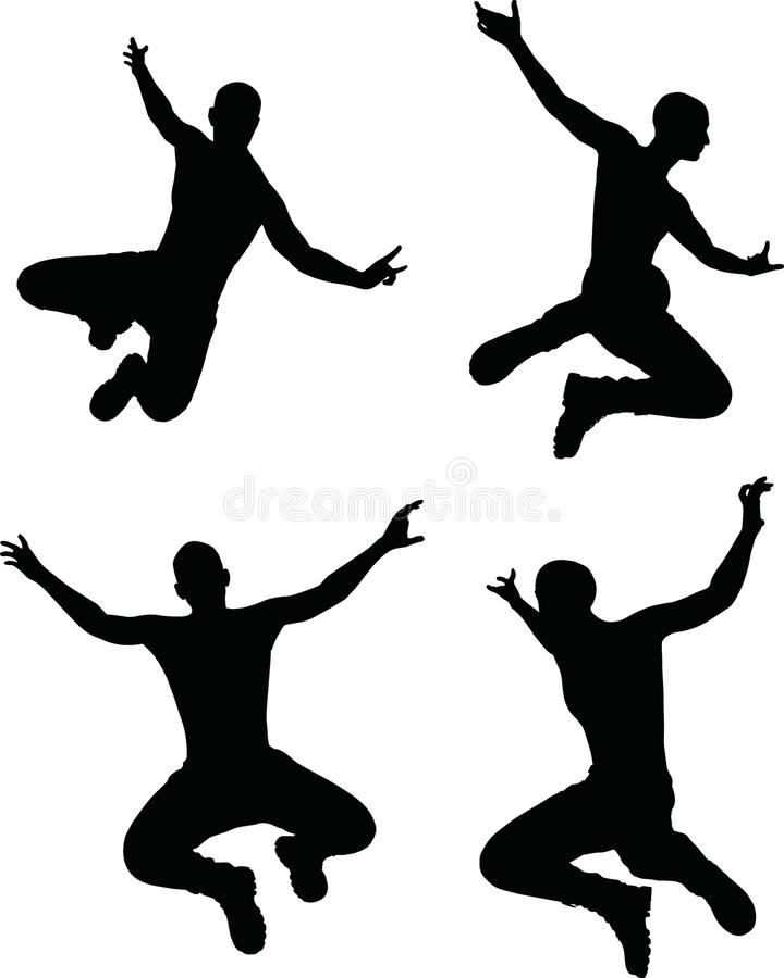 Illustrazione di vettore di ENV 10 di una siluetta dell'uomo nella posa di salto royalty illustrazione gratis