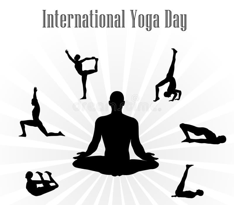 Illustrazione di vettore di giorno di yoga del mondo, fondo bianco illustrazione vettoriale