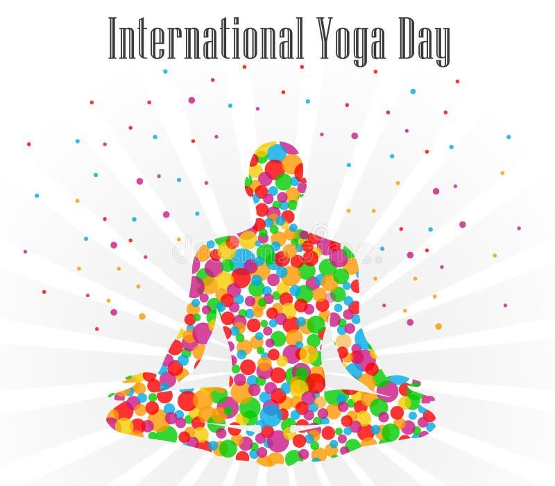 Illustrazione di vettore di giorno di yoga del mondo, fondo bianco royalty illustrazione gratis