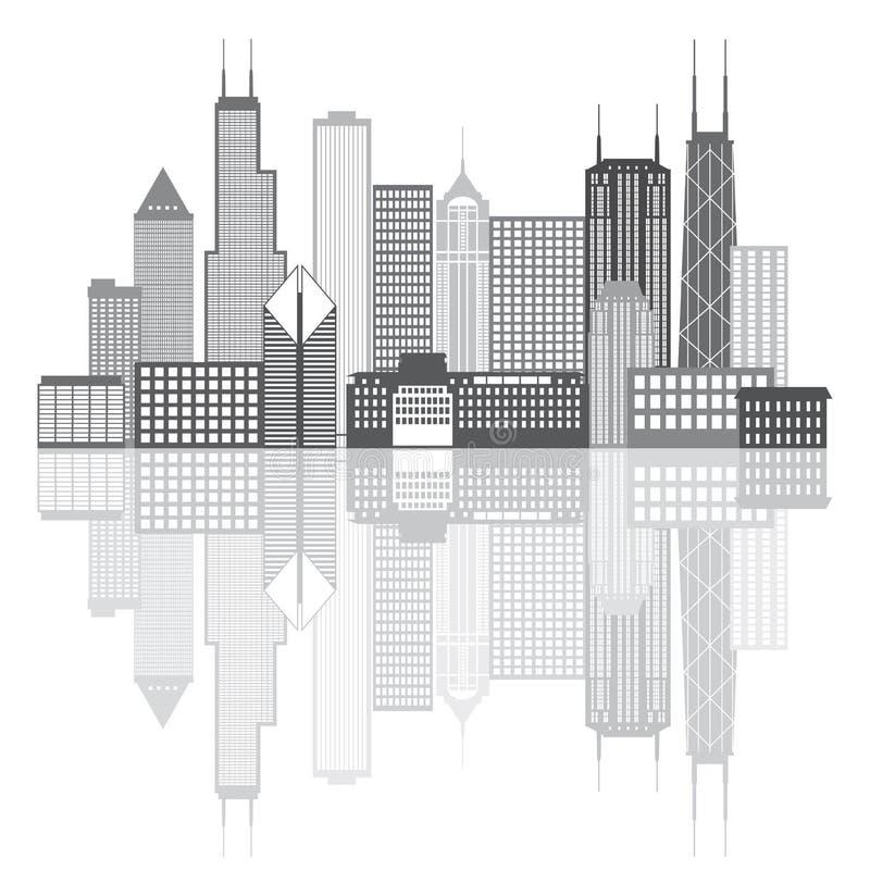 Illustrazione di vettore di gradazione di grigio dell'orizzonte della città di Chicago illustrazione di stock