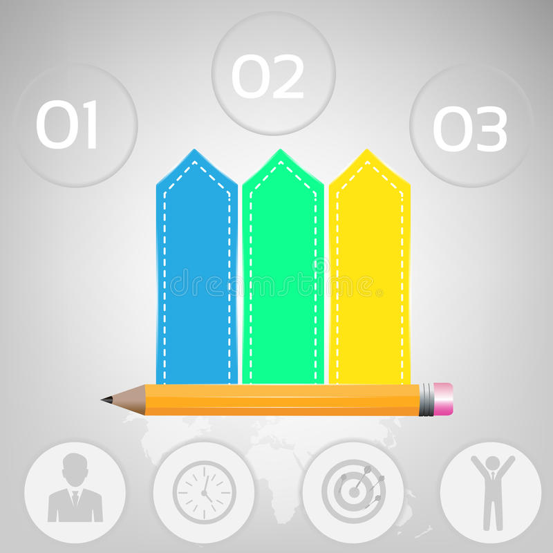 Illustrazione di vettore di Infographics di affari può essere usato per la disposizione di flusso di lavoro, l'insegna, il diagra illustrazione di stock