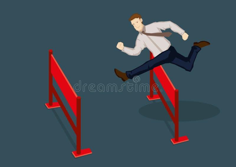 Illustrazione di vettore di Jumping Over Hurdles dell'uomo d'affari royalty illustrazione gratis