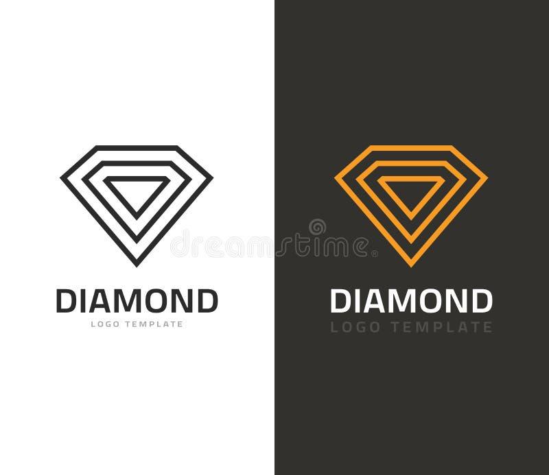 Illustrazione di vettore di logo del diamante, icona del gioiello, segno di marca dei gioielli geometrico illustrazione vettoriale