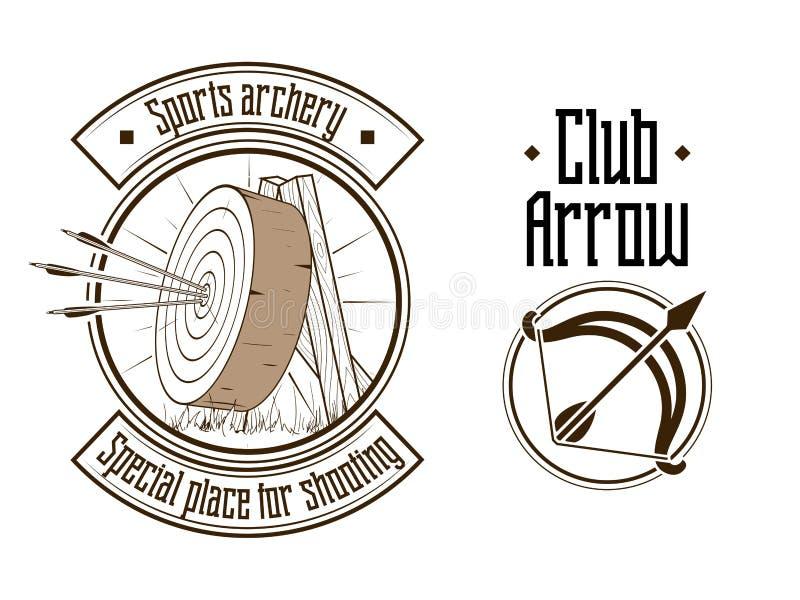 Illustrazione di vettore di logo di tiro con l'arco illustrazione vettoriale