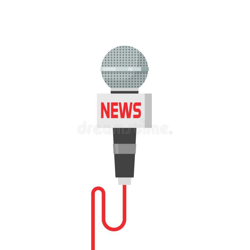 Illustrazione di vettore di notizie del microfono isolata su bianco illustrazione di stock