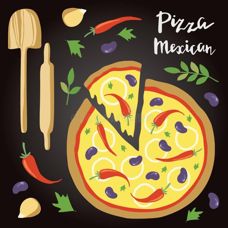Illustrazione di vettore di pizza messicana con gli ingredienti illustrazione di stock