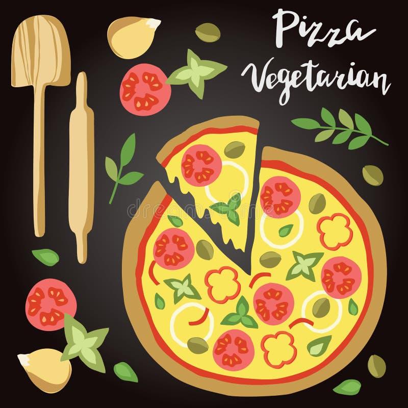 Illustrazione di vettore di pizza vegetariana con gli ingredienti illustrazione vettoriale