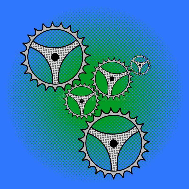 Illustrazione di vettore di Pop art del meccanismo di ingranaggi royalty illustrazione gratis