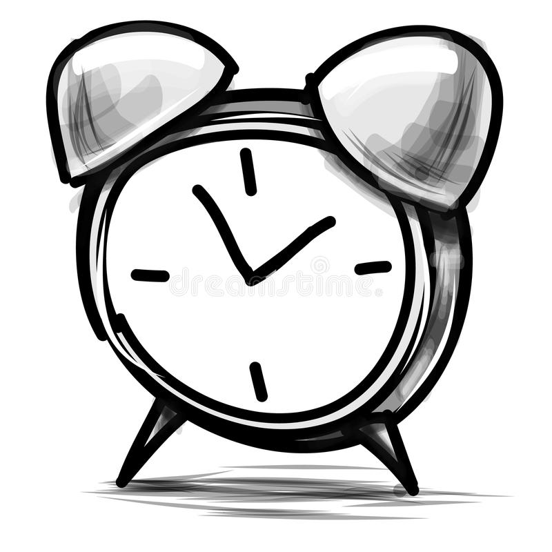 Illustrazione di vettore di schizzo del fumetto della sveglia royalty illustrazione gratis