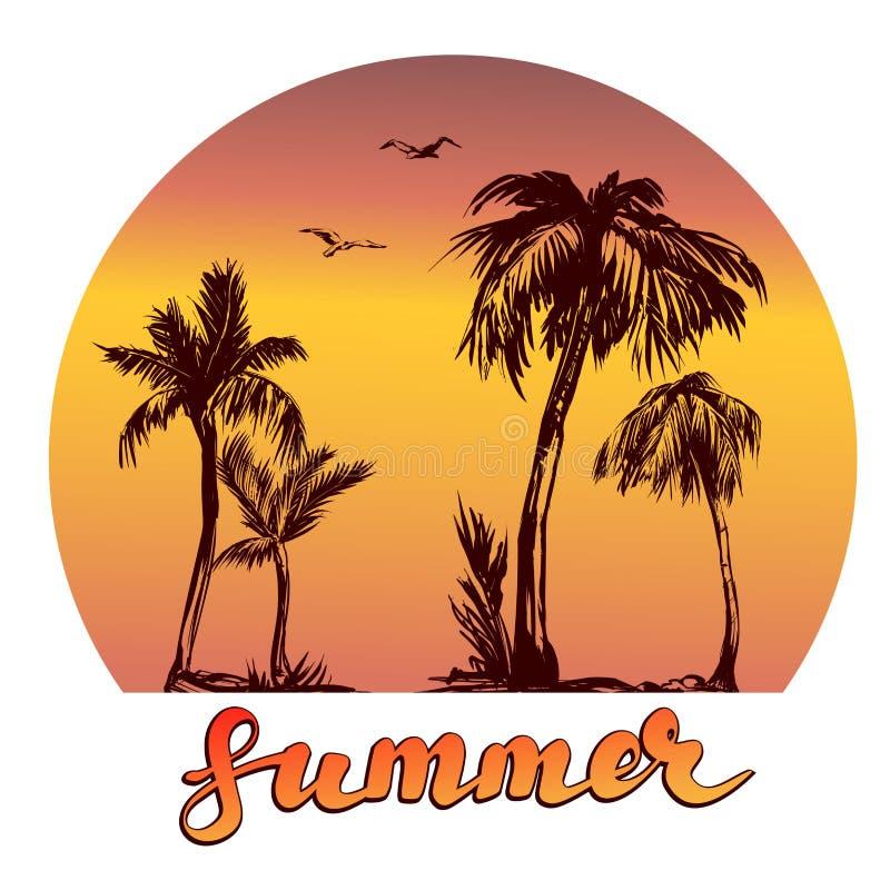 Illustrazione di vettore di simbolo di logo della spiaggia di estate su fondo bianco royalty illustrazione gratis